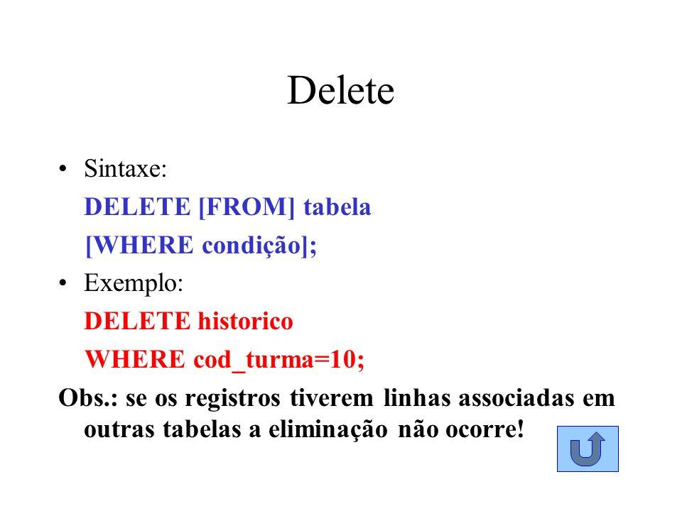 Delete Sintaxe: DELETE [FROM] tabela [WHERE condição]; Exemplo: